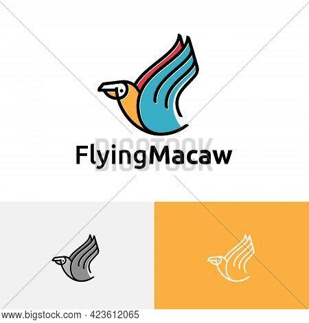Beautiful Exotic Parrot Macaw Bird Flying Wildlife Logo