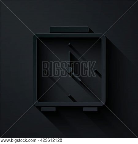 Paper Cut Alarm Clock Icon Isolated On Black Background. Wake Up, Get Up Concept. Time Sign. Paper A