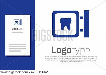 Blue Dental Clinic Location Icon Isolated On White Background. Logo Design Template Element. Vector
