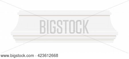 White Skirting Baseboard Styrofoam Molding For Wall Isolated On White Background. A