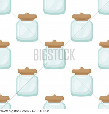 Glass Jar Seamless Pattern. Empty Glass Jar Isolated Illustration Background. Vector Illustration