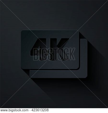Paper Cut 4k Ultra Hd Icon Isolated On Black Background. Paper Art Style. Vector