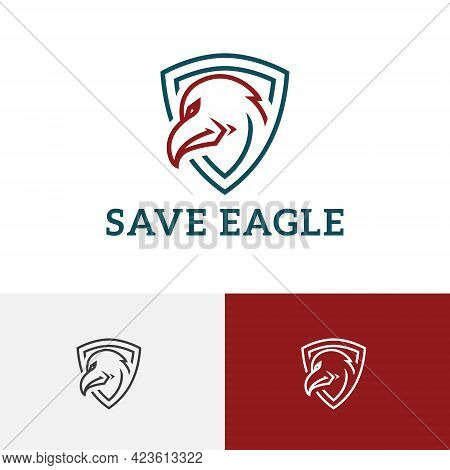 Eagle Hawk Falcon Save Protect Shield Line Logo