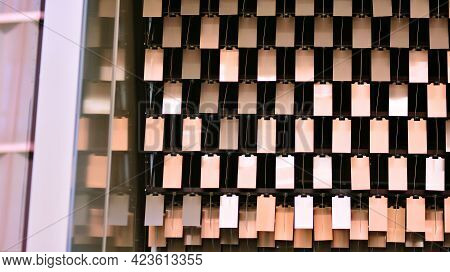 A Fragment Of The Steel Facade Of Office Building.  Modern Architecture Building Facade. Metal Detai