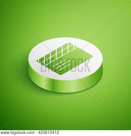 Isometric Movie Clapper Icon Isolated On Green Background. Film Clapper Board. Clapperboard Sign. Ci