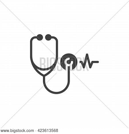 Stethoscope Heartbeat Vector Icon. Filled Flat Sign For Mobile Concept And Web Design. Heart Healthc