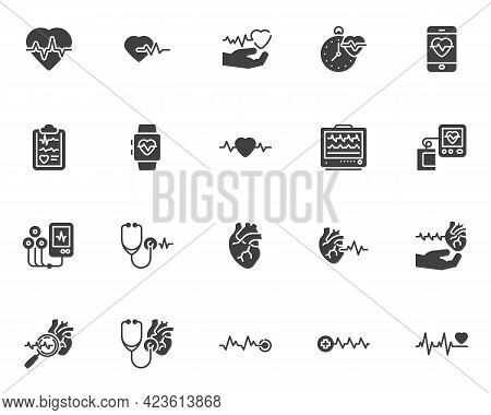 Cardiology Vector Icons Set, Modern Solid Symbol Collection, Filled Style Pictogram Pack. Signs, Log