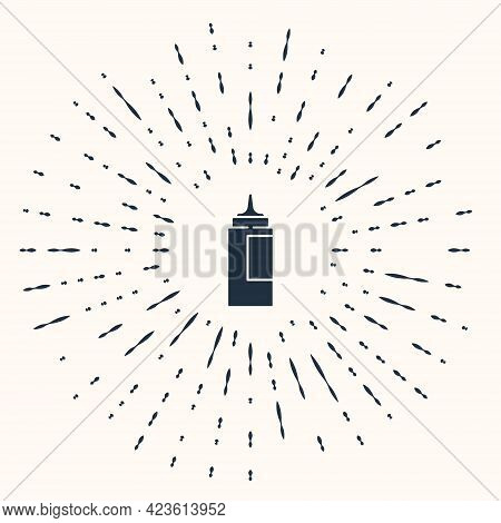 Grey Sauce Bottle Icon Isolated On Beige Background. Ketchup, Mustard And Mayonnaise Bottles With Sa