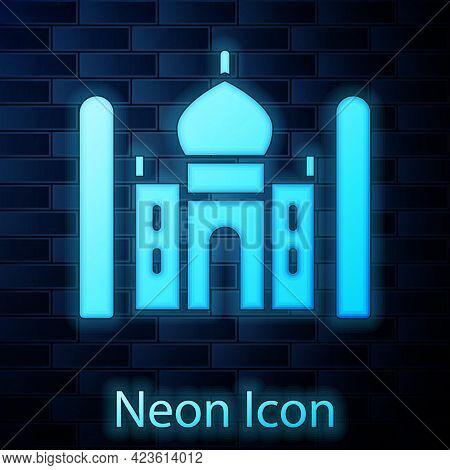 Glowing Neon Taj Mahal Mausoleum In Agra, Indiaicon Isolated On Brick Wall Background. Vector
