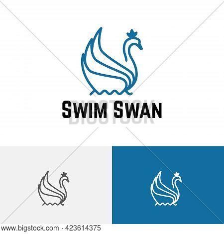 Swim Swan Crown Goose On Water Pool Line Logo