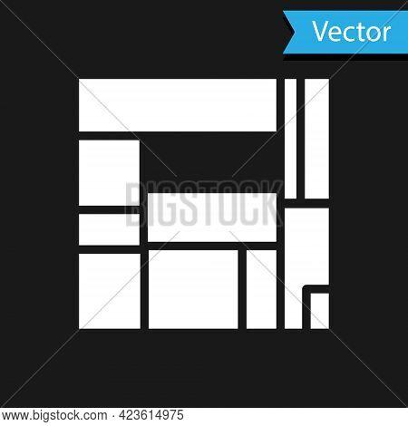 White House Edificio Mirador Icon Isolated On Black Background. Mirador Social Housing By Mvrdv Arch