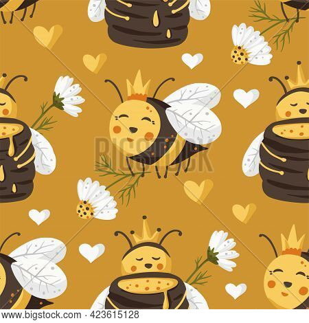 Cute Bee Insect Summer Seamless Pattern Background. Cartoon Baby Fly Nature Design With Honey And Da
