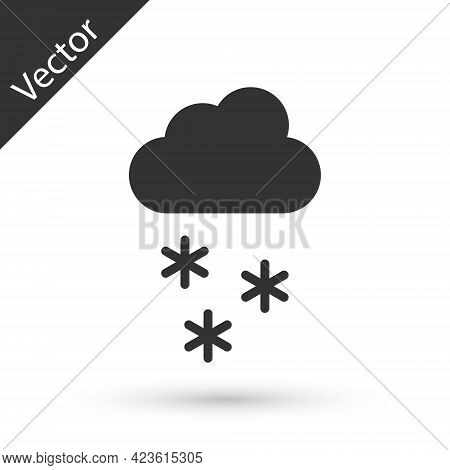 Grey Cloud With Snow Icon Isolated On White Background. Cloud With Snowflakes. Single Weather Icon.