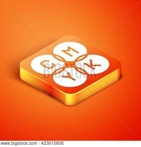 Isometric Cmyk Color Mixing Icon Isolated On Orange Background. Vector
