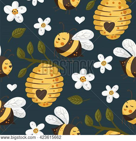 Cute Bee Insect Summer Seamless Pattern Background. Cartoon Baby Fly Nature Design With Honey Beehiv