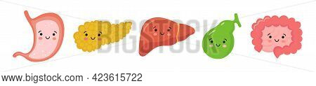 Organs Of The Gastrointestinal Tract In Kawaii Style. Smiling Stomach, Pancreas, Liver, Gallbladder,