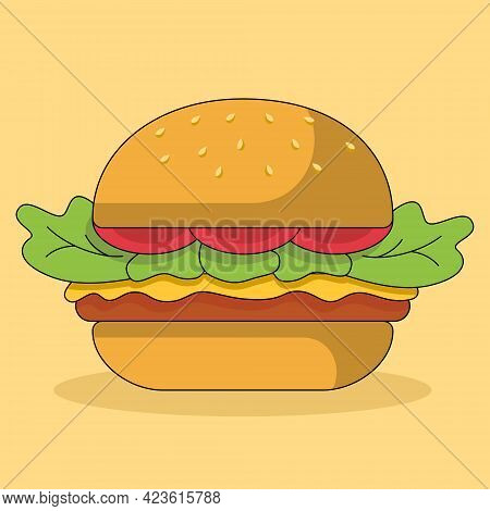 Cute Cartoon Hamburger Isolated On Yellow Background. Concept Illustration Of Junk Food In A Flat St
