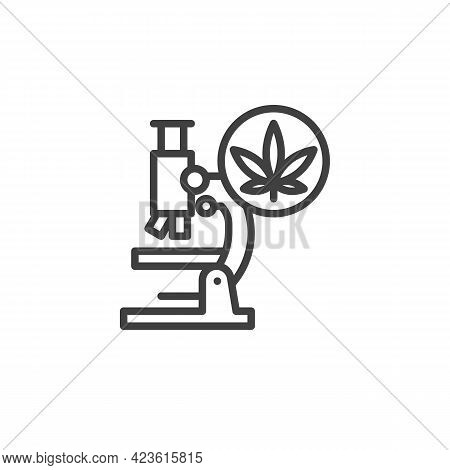 Medical Cannabis Research Line Icon. Linear Style Sign For Mobile Concept And Web Design. Cannabis A