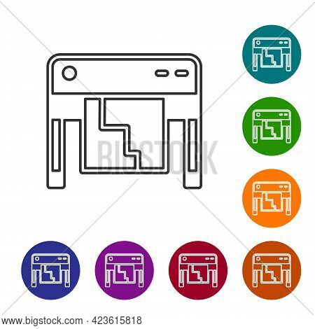 Black Line Plotter Icon Isolated On White Background. Large Format Multifunction Printer. Polygraphy