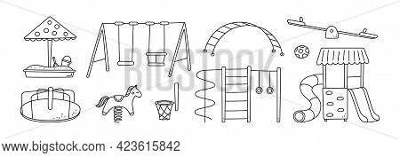 Hand Drawn Children Playground Objects. Swing, Slide, Teeter And Sandbox In Doodle Style. Kid Drawin