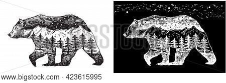 Vector Double Exposure, Hand Drawn Bear. Black And White Monochrome Emblem, Symbol, Logotype, Design