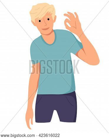 Man Cheerfully Shows Ok With His Hand. Gesture Ok, Okey. The Happy Man Expresses His Positive Emotio