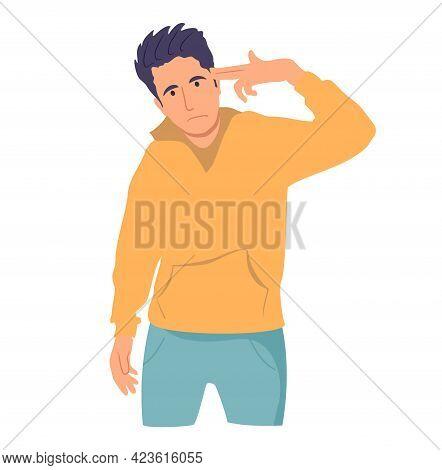 Man Put An Imaginary Gun To His Head. Boy Shoot His Head By Hand. Shooting Fingers Symbol. Gun Finge