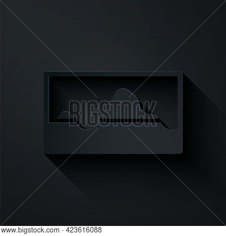 Paper Cut Music Wave Equalizer Icon Isolated On Black Background. Sound Wave. Audio Digital Equalize