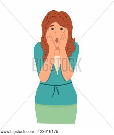 Regret Or Embarrassed Woman Vector Illustration. Disappointed Woman Hide Face Behind Hands Demonstra