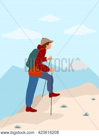 Man Backpacker Climbing High On A Mountain Hike. Traveler With A Backpack Climbing The Mountain. The