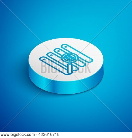 Isometric Line Search In A Browser Window Icon Isolated On Blue Background. White Circle Button. Vec
