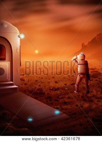 erster Mensch auf dem Mars digitale Malerei