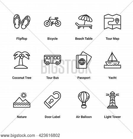 Set Of Summer Vacation Travel, Holiday, And Tourism Line Icons Vector Illustration. Beach, Sea, Pass
