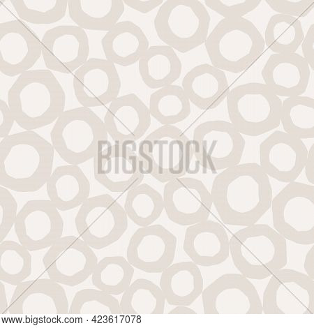 Abstract Subtle Seamless Background With Ivory Off White Gray Shapes, Vector Repeating Pattern With