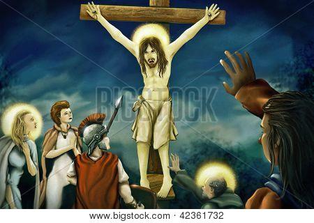 Kreuzigung von Jesus digitale Malerei