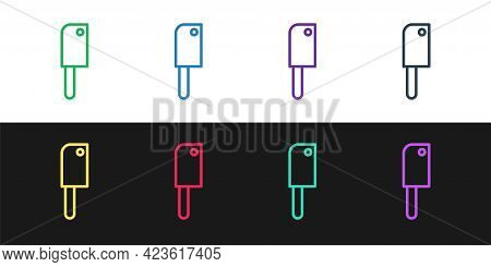 Set Line Meat Chopper Icon Isolated On Black And White Background. Kitchen Knife For Meat. Butcher K