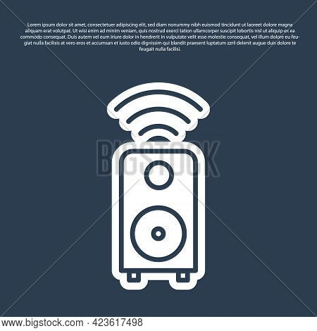 Blue Line Smart Stereo Speaker System Icon Isolated On Blue Background. Sound System Speakers. Inter