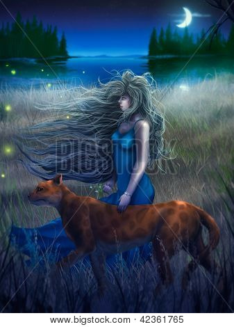 Frau und Katze, die zu Fuß in das Mondlicht digitale Malerei