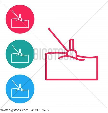 Red Line Fishing Float In Water Icon Isolated On White Background. Fishing Tackle. Set Icons In Circ