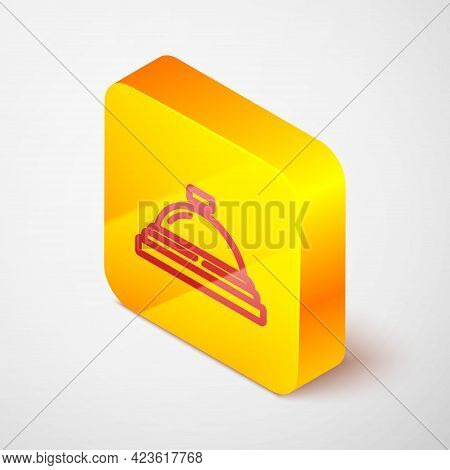 Isometric Line Hotel Service Bell Icon Isolated On Grey Background. Reception Bell. Yellow Square Bu