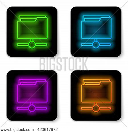 Glowing Neon Line Ftp Folder Icon Isolated On White Background. Software Update, Transfer Protocol,