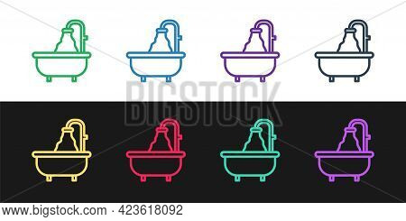 Set Line Bathtub Icon Isolated On Black And White Background. Vector