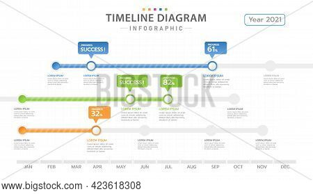 Infographic Template For Business. 12 Months Modern Timeline Diagram With Project Planner, Presentat