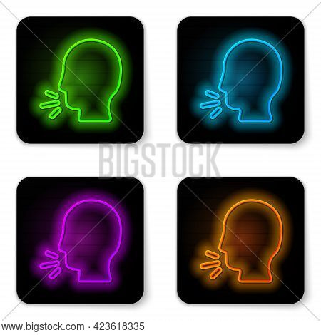 Glowing Neon Line Man Coughing Icon Isolated On White Background. Viral Infection, Influenza, Flu, C