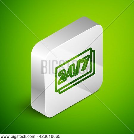 Isometric Line Clock 24 Hours Icon Isolated On Green Background. All Day Cyclic Icon. 24 Hours Servi