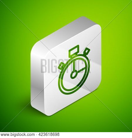 Isometric Line Stopwatch Icon Isolated On Green Background. Time Timer Sign. Chronometer Sign. Silve