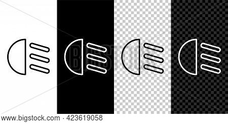 Set Line High Beam Icon Isolated On Black And White Background. Car Headlight. Vector