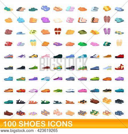 100 Shoes Icons Set. Cartoon Illustration Of 100 Shoes Icons Vector Set Isolated On White Background