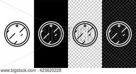 Set Line Cutting Board Icon Isolated On Black And White Background. Chopping Board Symbol. Vector