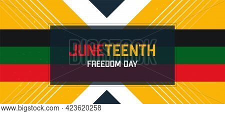Juneteenth Freedom Day. African-american Independence Day. Vector Yellow Abstract Banner With Flag S